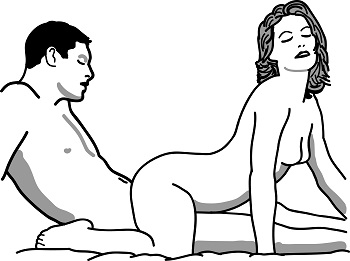 Swinging Reverse Cowgirl Illustrated Sex Position