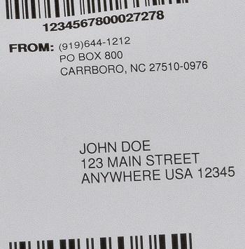 discreet mailing label