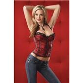 red satin corset