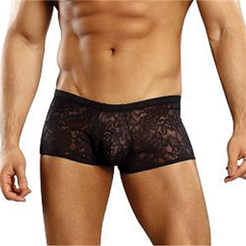 Male Power Stretch Lace Mini Short