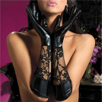 Elbow Length Lace & Leather Gloves
