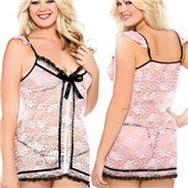 curve ribbon front babydoll