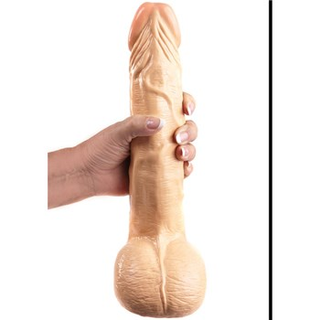 All American Ultra Whopper 11 Inch Curved Dong Hand Shot - White