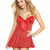the lady in red sparkle babydoll