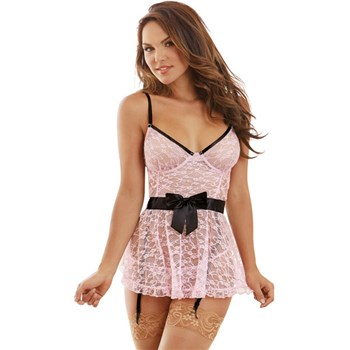 Hot For You Apron Babydoll - pink