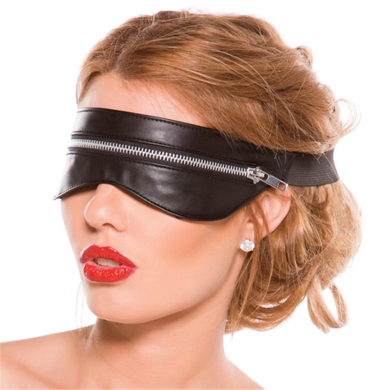 Faux Leather Zip Blindfold