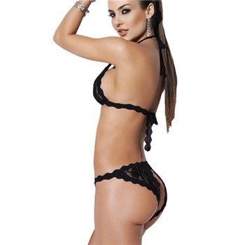 All Night Pleasure 2 Piece Set Black side and back view