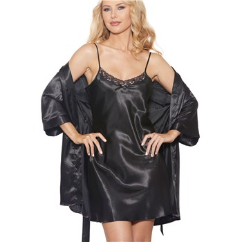 A&E Awaken Desires Set chemise and robe full front
