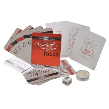 Weekend In Bed Lovers Bondage Kit 2 card games and dice game massage oil candle