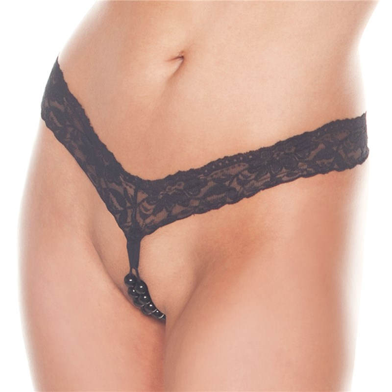 S.L.P. Crotchless Beaded Lovers Thong