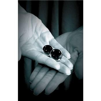 Black Glass Ben Wa Balls hand holding balls