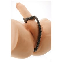 A&E Triple Threat Penis Ring shown on realistic toy