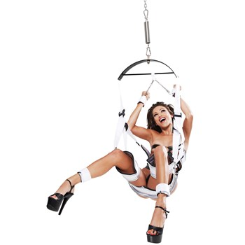 Fetish Fantasy Bondage Swing woman sitting in swing