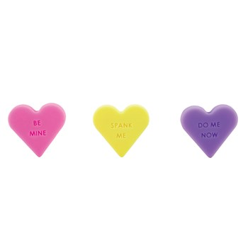 Naughty Candy Heart Butt Plug bases showing stamped messages