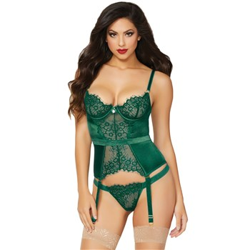 Breathtaking Satin And Lace Bustier full front