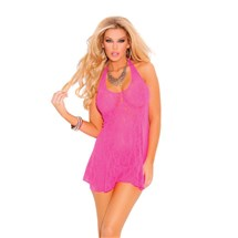 Sweet Lace Halter Chemise hot pink front