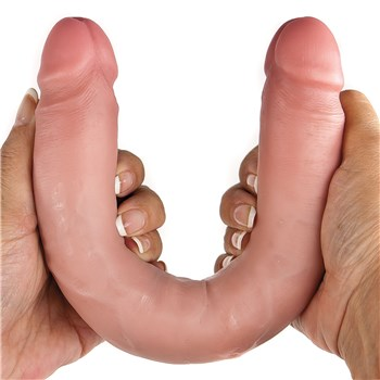 """KingCock 12"""" Slim Double Dildo hand holding for scale"""