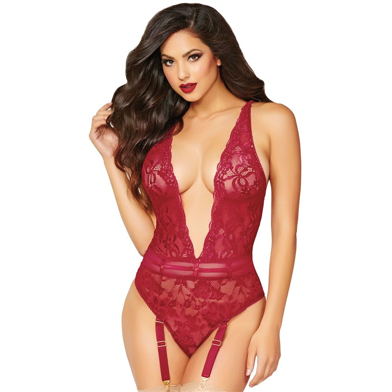 In Vogue Floral Lace Teddy
