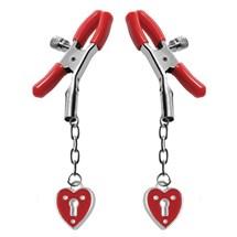 Crimson Tied Heart Padlock Nipple Clamps