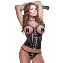Harlot Cupless Lace Up Corset front
