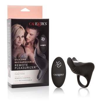 Silicone Rechargeable Remote Pleasurizer front of box with items