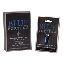 Blue Fortera with pill and box