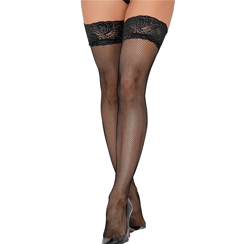 Adam & Eve Stay-Up Lace Top Fishnet Thigh Highs