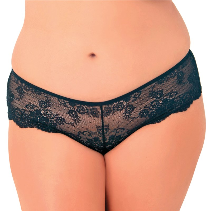 Deep V Allover Lace Crotchless