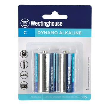 Westinghouse C Cell Batteries (2 pack) in package