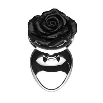 Booty Sparks Rose Anal Plug rose end black