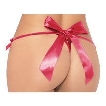 Satin Bow Open Crotch Panty back red