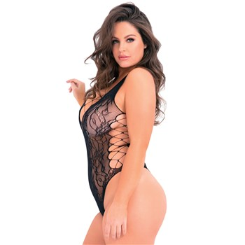 Laced Up Sexy Bodysuit black side