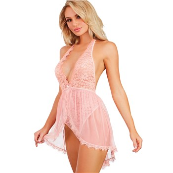 Pink Champagne Skirted Teddy front