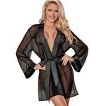 Unwrap Me Kimono Robe front black