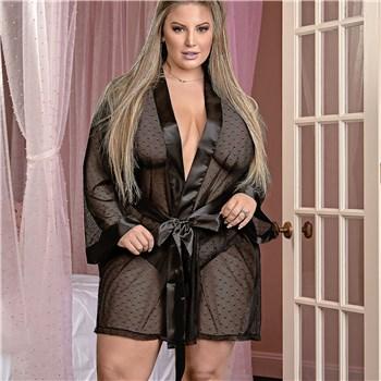 Unwrap Me Kimono Robe black plus