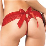 Crotchless Lace Bow-Back Panty Red back