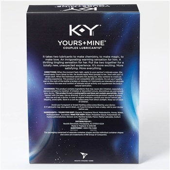 K-Y Yours & Mine Couples Lubricant back of box