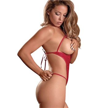 Hypnotic Swirl Cupless & Crotchless Teddy Red side