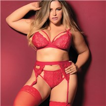 Cage Lace Bra And Garter Set queen front mood