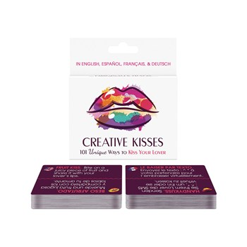 Creative Kisses Card Game cards on table with box behind