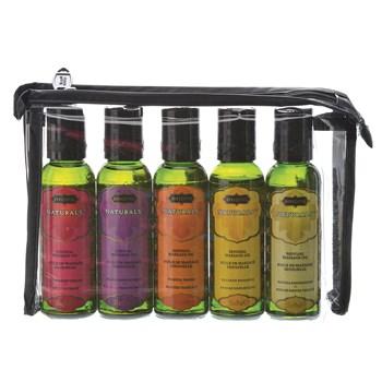 Kama Sutra Massage Indulgence bottles in travel pouch