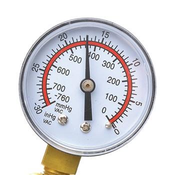 Performance VX7 Penis Pump close up of gauge