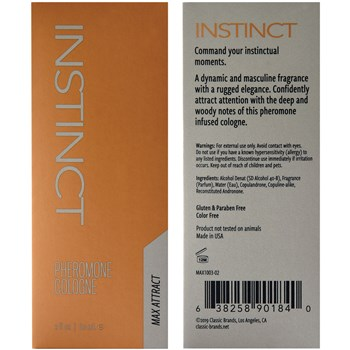 Instinct Pheromone Cologne front and back of box