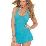 Sweet Lace Halter Chemise front turquoise