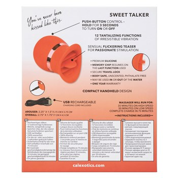 French Kiss Sweet Talker Clitoral Stimulator back of box