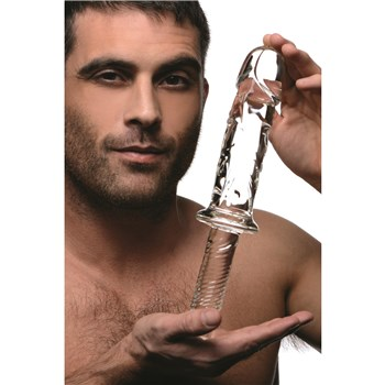 Brutus Glass Thruster Dildo Hand Shot with Male Model