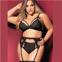 cage lace bra and garter set queen front