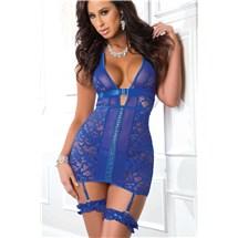 E101 Blue Angel Lace Up Garter Dress Front
