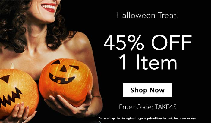 Claim Your Halloween Treat! Use Code TAKE45 for 45% Off 1 Item!