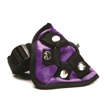 Tantus Purple Haze Bend Over Intermediate Harness Set Close Up of Front of Harness